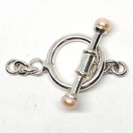 Pink pearl bar toggle clasp