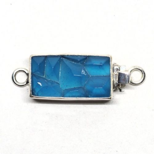 Blue cracked ice clasp