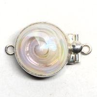 Opalescent white swirl clasp