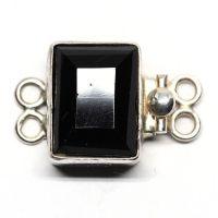 Black emerald-cut bracelet clasp