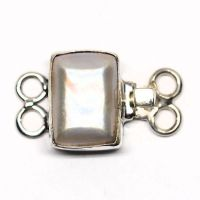 Rectangular mother-of-pearl bracelet clasp