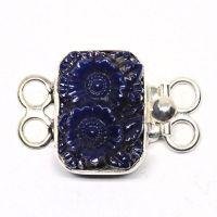 Dark blue flower bracelet clasp