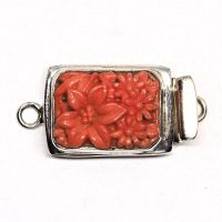 Rectangular coral floral box clasp