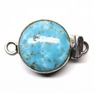 "Vintage Japanese glass ""turquoise"" round clasp"