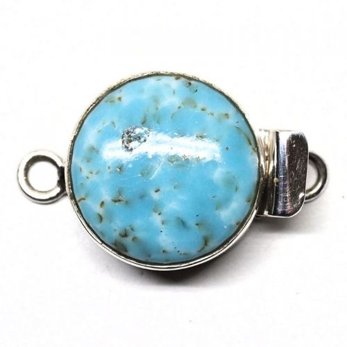 """Vintage Japanese glass """"turquoise"""" round clasp"""