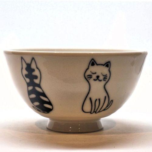 Black and white cat rice bowl