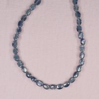8 mm by 6 mm flat oval aquamarine beads