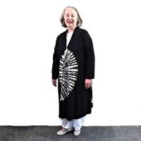 Black and white tie-dye lightweight coat