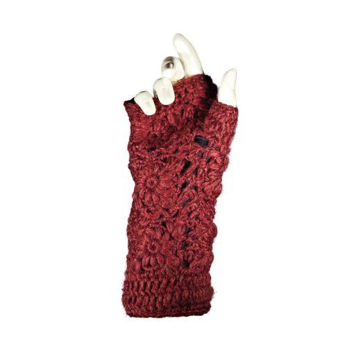 Crocheted wool fingerless gloves