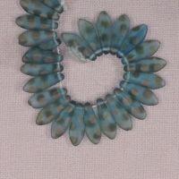 5 mm by 15 mm turquoise polka dot Czech daggers