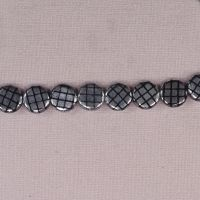 10 mm round silver checked Czech discs