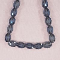 12 mm by 10 mm faceted etched glass oval beads