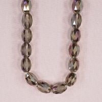 12 mm by 10 mm faceted etched glass pink-purple oval beads