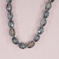 12 mm by 10 mm faceted etched glass blue-pink oval beads