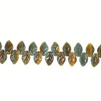 12 mm by 8 mm top-drilled blue and green vintage glass leaves