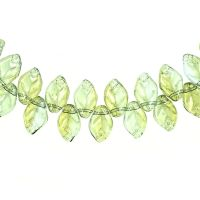 12 mm by 8 mm top-drilled vintage mint green glass leaves