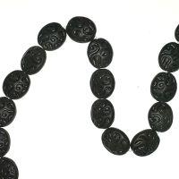 16 mm matte black incised circle beads