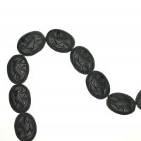 18 mm matte black incised oval beads