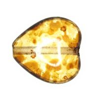 11 mm amber speckled heart beads