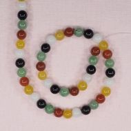 8 mm multi-colored round jade beads