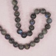 10 mm round grayish labradorite beads