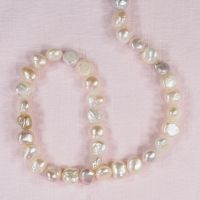 8 mm rounded white potato pearls