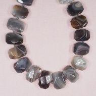 16 mm by 22 mm irregular Botswana agate hexagon beads