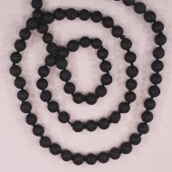 8 mm round black lava mala