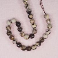 10 mm faceted round zebra jasper beads