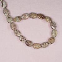Fancy jasper faceted flat oval beads