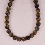 11 mm carved round tiger eye beads